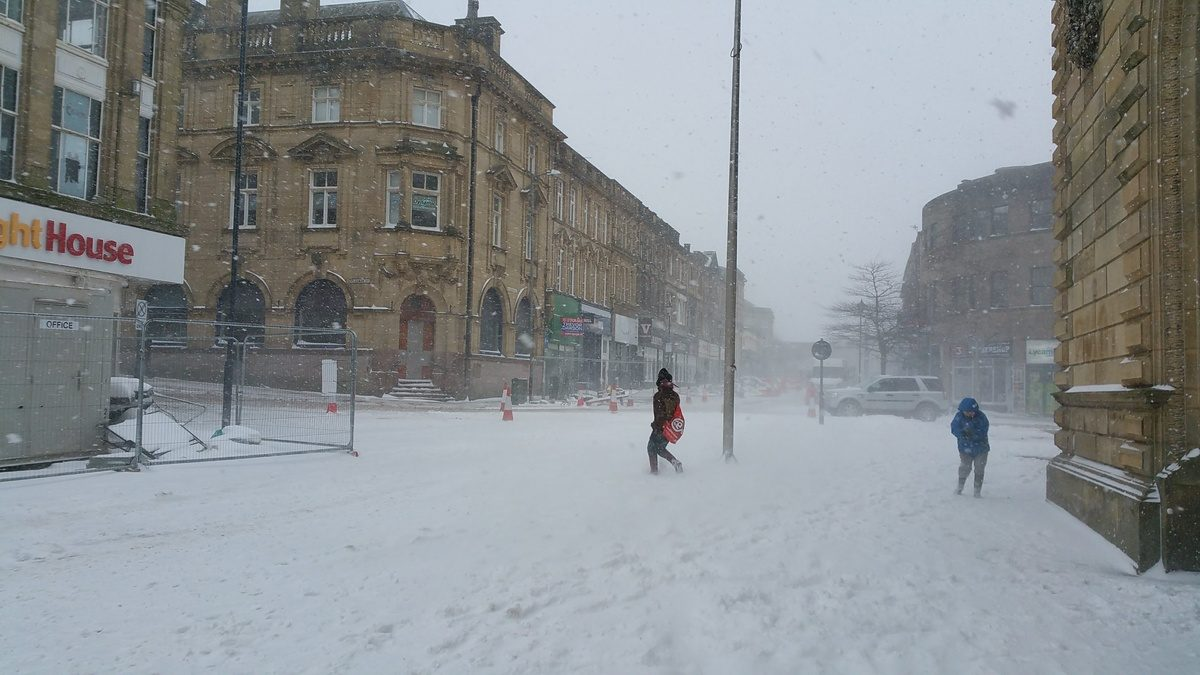 The snow was wild and bitter in Accrington today