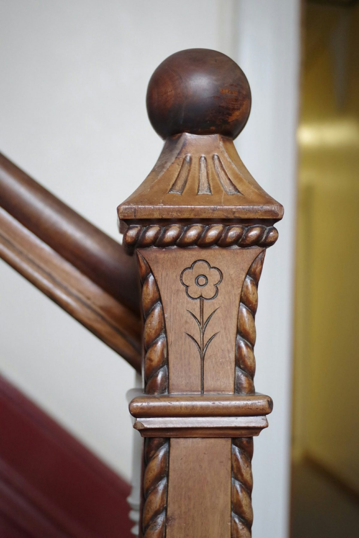 Newel post in former Accrington Bank
